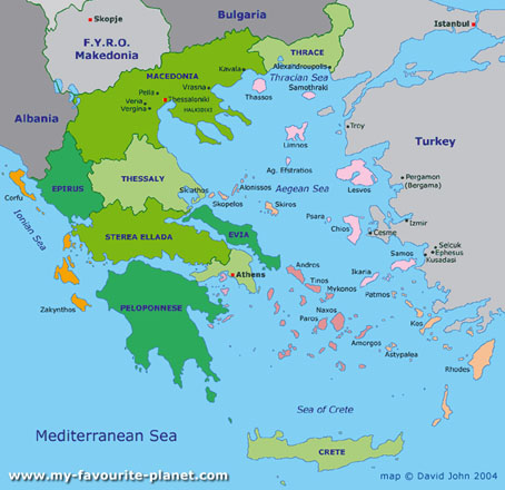 Davidjohnberlin Map Of Greece - Political map of greece